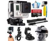 GoPro HERO3+ Hero 3+ Silver Plus Edition Action Camera Camcorder with Accessories includes 16GB MicroSD Card + Selfie Stick + Bike Mount + Car Windshield Suction Cup + Head Helmet Strap (CHDHN-302)