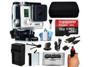 GoPro HERO3 Hero 3 White Edition Action Camera Camcorder with 16GB Best Value Accessory Bundle includes MicroSD Card + Stabilization Grip + Battery + Home and Car Charger + Medium Case (CHDHE-302)