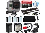 GoPro HERO3 Hero 3 Silver Edition Camera Camcorder with Premium Accessory Package includes 16GB MicroSD + 3x Battery + Video Stabilizer + LED Video Light + Car Mount + Selfie Stick + Case (CHDHN-301)
