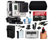 GoPro HERO3+ Hero 3+ Silver Plus Edition Action Camera Camcorder with 64GB Best Value Accessory Bundle includes MicroSD Card + Stabilizer Grip + Extra Battery + Car Charger + Medium Case (CHDHN-302)