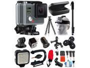 GoPro HD HERO Waterproof Action Camera Camcorder with Deluxe Sports Bundle includes Travel Case + Selfie Monopod Stick + Head/Helmet Strap + Charger + LED Video Light + Grip Stabilizer (CHDHA-301)