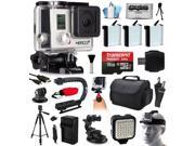 GoPro HERO3+ Hero 3+ Silver Plus Edition Action Camera Camcorder with Ultimate Accessory Bundle includes 16GB MicroSD + 3x Batteries + Large Case + Stabilizer + Tripod + LED Video Light (CHDHN-302)