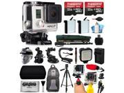 GoPro HERO3+ Hero 3+ Silver Plus Edition Camera Camcorder with 64GB Accessories Bundle includes 2x Battery + Backpack + Action Handle + Car Mount + Selfie Stick + Case + LED Video Light (CHDHN-302)