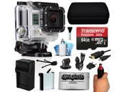 GoPro HERO3 Hero 3 Silver Edition Action Camera Camcorder with 64GB Best Value Accessory Bundle includes MicroSD Card + Stabilization Grip + Battery + Home and Car Charger + Medium Case (CHDHN-301)