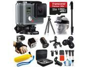 GoPro HD HERO Waterproof Action Camera Camcorder with Accessories Bundle Package includes 32GB microSD Card + Selfie Stick + Head/Helmet Strap + Wall & Car Charger + Car Suction Cup + Case (CHDHA-301)