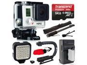 GoPro HERO3 Hero 3 White Edition Action Camera Camcorder with 64GB MicroSD Card + Battery + Car Charger + Video Grip Stabilizer + Self Selfie Stick Monopod Handle + Night LED Video Light (CHDHE-302)