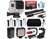 GoPro HERO3+ Hero 3+ Silver Plus Edition Camera Camcorder with Premium Accessories Bundle includes 64GB MicroSD + 3x Batteries + Video Stabilizer + LED Video Light + Selfie Stick + Case (CHDHN-302)