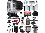 GoPro HERO3 Hero 3 Silver Camera Bundle with 32GB MicroSD + 3x Battery + Car Charger + Backpack + Chest Harness + Stabilizer + Car Suction Cup Mount + LED Video Light + Head Strap (CHDHN-301)