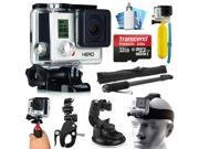 GoPro HERO3 Hero 3 White Edition Action Camera Camcorder with Accessories Bundle includes 32GB MicroSD Card + Selfie Stick + Bike Mount + Car Windshield Suction Cup + Head Helmet Strap (CHDHE-302)