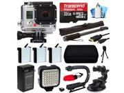 GoPro HERO3 Hero 3 White Edition Camera Camcorder with Premium Accessory Package includes 32GB MicroSD + 3x Battery + Video Stabilizer + LED Video Light + Car Mount + Selfie Stick + Case (CHDHE-302)