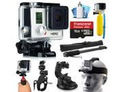 GoPro HERO3 Hero 3 White Edition Action Camera Camcorder with Accessories Bundle includes 16GB MicroSD Card + Selfie Stick + Bike Mount + Car Windshield Suction Cup + Head Helmet Strap (CHDHE-302)