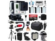 GoPro HERO3 Hero 3 White Edition Camera Camcorder with Ultimate Accessory Bundle includes 64GB MicroSD + 3x Batteries + Car Charger + Case + Stabilizer + Tripod + Dash Mount + LED Light (CHDHE-302)