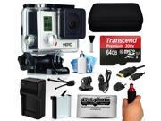 GoPro HERO3 Hero 3 White Edition Action Camera Camcorder with 64GB Best Value Accessory Bundle includes MicroSD Card + Stabilization Grip + Battery + Home and Car Charger + Medium Case (CHDHE-302)