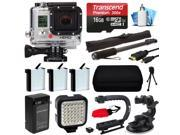 GoPro HERO3 Hero 3 White Edition Camera Camcorder with Premium Accessory Package includes 16GB MicroSD + 3x Battery + Video Stabilizer + LED Video Light + Car Mount + Selfie Stick + Case (CHDHE-302)