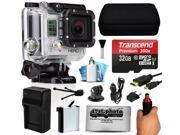 GoPro HERO3 Hero 3 Silver Edition Action Camera Camcorder with 32GB Best Value Accessory Bundle includes MicroSD Card + Stabilization Grip + Battery + Home and Car Charger + Medium Case (CHDHN-301)