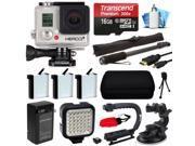GoPro HERO3+ Hero 3+ Silver Plus Edition Camera Camcorder with Premium Accessories Bundle includes 16GB MicroSD + 3x Batteries + Video Stabilizer + LED Video Light + Selfie Stick + Case (CHDHN-302)