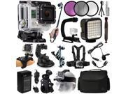GoPro HERO3 Hero 3 Silver Edition Action Camera Camcorder with Filters + Selfie Stick + Stabilizer Grip + LED Video Light + Microphone + Chest Strap + Octopus Tripod + Car Mount + Case (CHDHN-301)