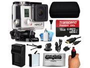 GoPro HERO3+ Hero 3+ Silver Plus Edition Action Camera Camcorder with 16GB Best Value Accessory Bundle includes MicroSD Card + Stabilizer Grip + Extra Battery + Car Charger + Medium Case (CHDHN-302)