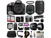 Nikon D3300 DSLR Digital Camera with 18-55mm VR II + 55-200mm VR Lens + 128GB Memory + 2 Batteries + Charger + LED Video Light + Backpack + Case + Filters + Auxiliary Lenses + $50 Gift Card + More!