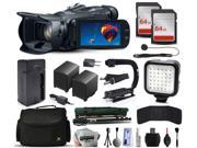 Canon VIXIA HF G30 HFG30 HD Camcorder Video Camera + 128GB Memory + Charger with Car/Euro Adapter + Action Stabilizer + LED Night Light + Cap Keeper + Large Case + Monopod + Dust Cleaning Kit + More