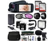 Canon VIXIA HF R600 HFR600 HD Camcorder Video Camera + 128GB Memory + Travel Charger + 3 Filters + 2 Batteries + Opteka X-Grip + LED Light + Microphone + Monopod + Large Case + Dust Cleaning Kit