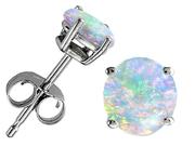 Original Star K(TM) Round 7mm Simulated Opal Earrings Studs