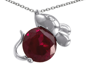 Original Star K(TM) Mouse Pendant With Round Created Ruby