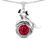 Original Star K(TM) Dog Lover Pendant with July Birthstone Round 7mm Created Ruby