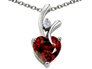Original Star K(TM) Heart Shape 8mm Simulated Garnet Pendant
