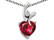 """Star K 1.95 CTW Heart Shaped 8mm Created Ruby in Sterling Silver Pendant with 18"""" Necklace"""