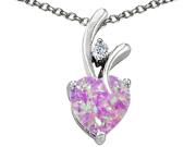Original Star K(TM) Created 8mm Heart Shaped Pink Opal Pendant