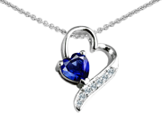 Original Star K(TM) 7mm Heart Shape Created Sapphire Heart Pendant