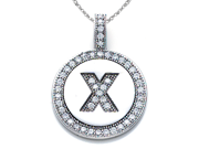"""Zoe R(TM) Sterling Silver Micro Pave Hand Set Cubic Zirconia (CZ) Letter """"X"""" Initial Disc Pendant"""