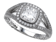 Zoe R(TM) 925 Sterling Silver Micro Pave Hand Set Cubic Zirconia (CZ) Halo  Cushion Cut Engagement Ring