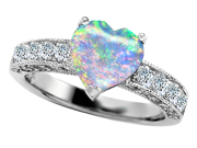 Original Star K(TM) Heart Shape 8mm Simulated Opal Engagement Ring