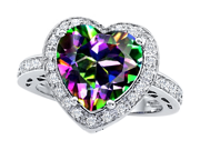 Original Star K(TM) Large 10mm Heart Shape Rainbow Mystic Topaz Engagement Wedding Ring