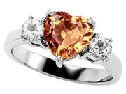 Original Star K(TM) 8mm Heart Shape Simulated Imperial Yellow Topaz Engagement Ring