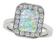 Original Star K(TM) 10x8mm Emerald Cut Simulated Opal Engagement Ring
