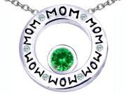 Original Star K(TM) MOM Circle Mothers Pendant with Round 7mm Simulated Emerald
