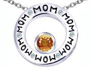Original Star K(TM) MOM Circle Mothers Pendant with Round 7mm Simulated Imperial Yellow Topaz