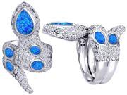 Original Star K(TM) Good Luck Snake Ring with Created Blue Opal Stones