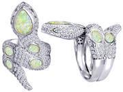 Original Star K(TM) Good Luck Snake Ring with Created Opal Stones LIFETIME WARRANTY