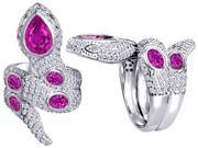 Original Star K(TM) Good Luck Snake Ring with Created Pink Sapphire Stones