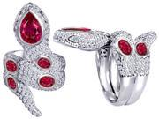 Original Star K(TM) Good Luck Snake Ring with Created Ruby Stones LIFETIME WARRANTY