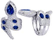 Original Star K(TM) Good Luck Snake Ring with Created Sapphire Stones
