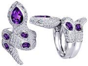 Original Star K(TM) Good Luck Snake Ring with Simulated Amethyst Stones