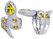 Original Star K(TM) Good Luck Snake Ring with Simulated Citrine Stones