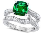 Original Star K(TM) 7mm Cushion Cut Simulated Emerald Engagement Wedding Set