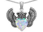 Original Star K(TM)True Love Heart Shape Simulated Opal Crown Wings Pendant