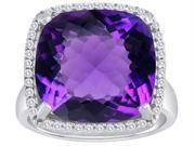 Original Star K(TM) Large Cushion Cut Simulated Amethyst Halo Engagement Ring